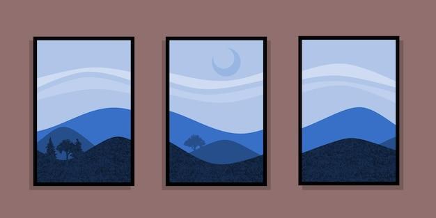 Set di pittura astratta di montagna. sfondo di arte astratta. vettori premium