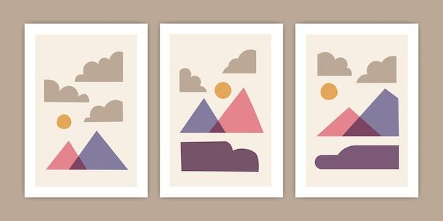 Set di illustrazioni astratte di poster di montagna
