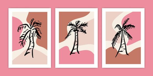 Insieme dell'illustrazione astratta del manifesto della palma