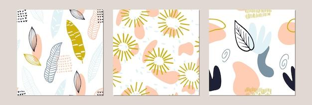 Imposta un motivo astratto con forme organiche in colori pastello. sfondo organico con macchie. modello senza cuciture del collage con struttura della natura. tessuto moderno, carta da imballaggio, design per pareti