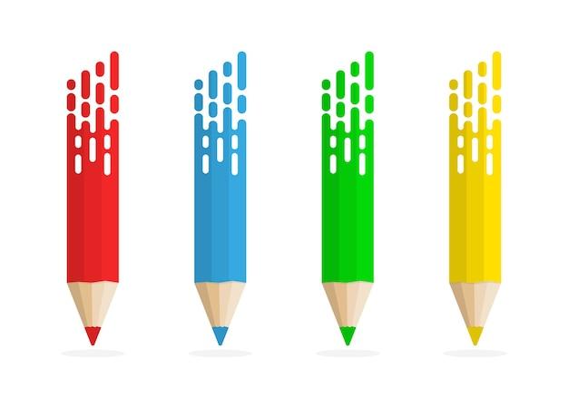 Set di matite astratte. matite colorate su sfondo bianco con ombra.