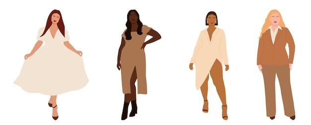 Una serie di ritratti astratti di donne internazionali plus size in look eleganti. c