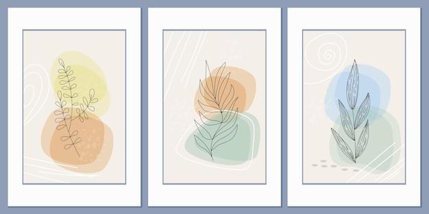 Set di poster astratti la loro erba di campo sagomata sullo sfondo di forme geometriche astratte