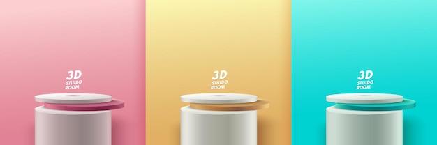 Set di display rotondo astratto. podio pastello e scena della parete a trama minima, rendering 3d di forma geometrica rosa, oro e verde.