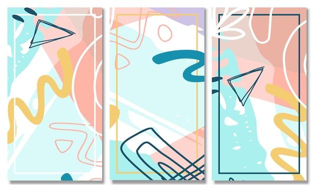 Set di sfondo di forma astratta set di sfondo astratto moderno di colore pastello di memphis