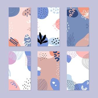 Set di abstract social media story stile alla moda disegnato a mano.