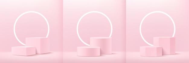 Set di astratto cubo rosa tenue rotondo e display esagonale per prodotto sul sito web in moderno.