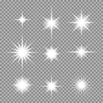 Set di stella astratta scoppiata con scintillii su trasparente