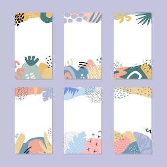 Set di storie astratte. disegnato a mano in stile alla moda. Vettore Premium