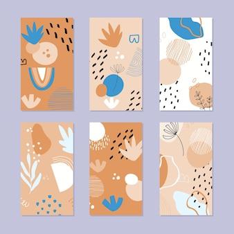 Set di storie astratte. disegnato a mano.