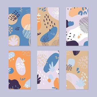 Set di modelli di storie astratte. disegnato a mano in stile alla moda.