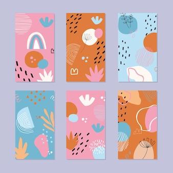 Set di sfondi di storia astratta. modello naturale disegnato a mano in stile alla moda.