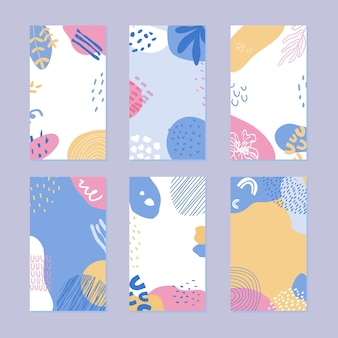 Set di modello di storia astratta. modello naturale disegnato a mano in stile alla moda.