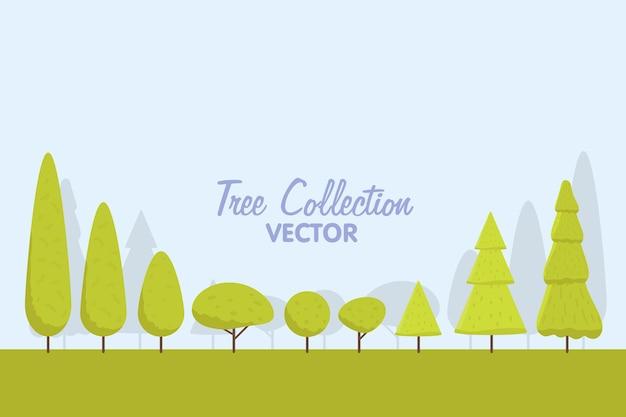 Insieme degli alberi stilizzati astratti. illustrazione naturale. vettore