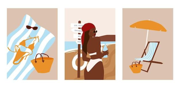 Set di cartoline estive spiaggia astratta.