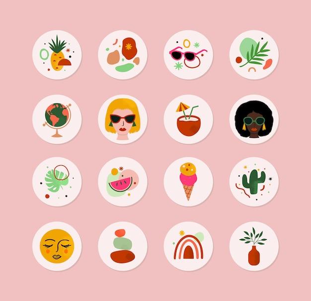 Set di icone estive astratte in vettoriale per etichette adesive social media e altro