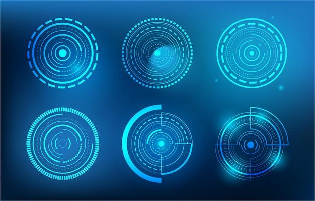 Set di abstract technology circle. interfaccia utente di fantascienza tecnologia digitale futuristica
