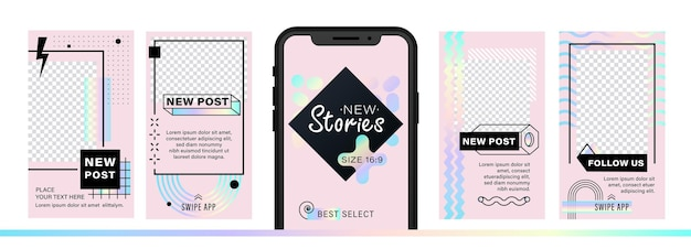 Set di design alla moda astratto per storie con effetto di dispersione Vettore Premium