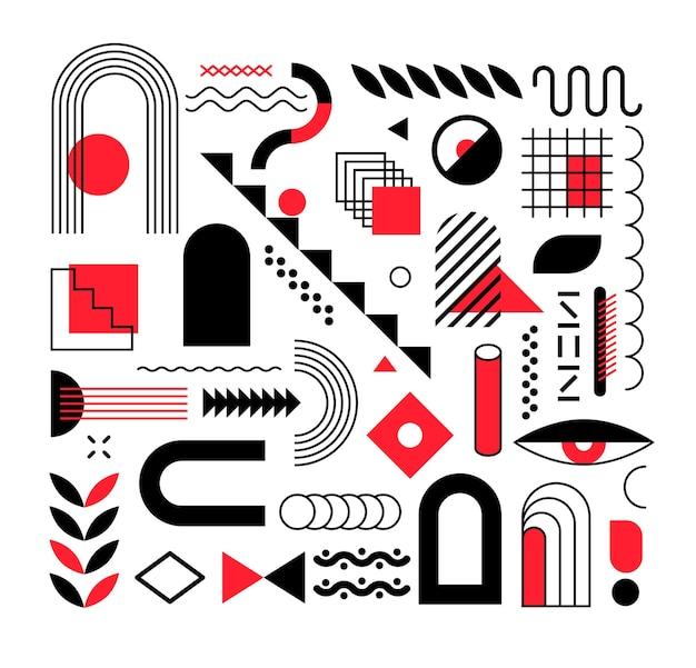 Set di forme geometriche alla moda astratte ed elementi di design