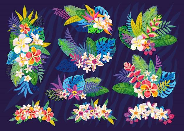 Set di piante tropicali astratte, fiori, foglie. elementi di design. giungla floreale colorata di fauna selvatica. sfondo di arte della foresta pluviale. illustrazione