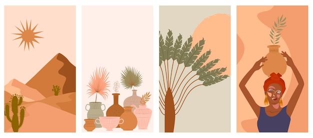 Set di astratto sfondo verticale con donna in turbante, vaso in ceramica e brocche, piante, forme astratte e paesaggio.