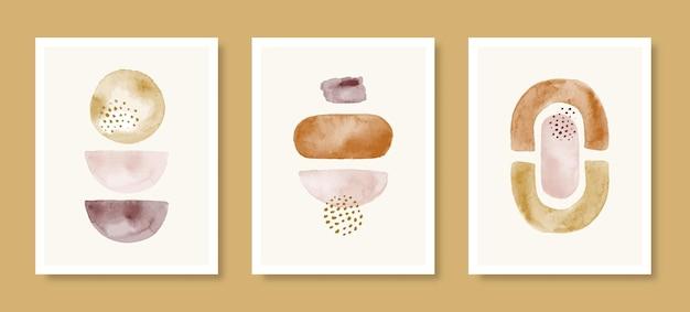Set di sfondo acquerello astratto in uno stile minimal alla moda. illustrazione disegnata a mano di vettore da diverse forme in colori pastello per stampe d'arte da parete, copertine, imballaggi, storie di social media
