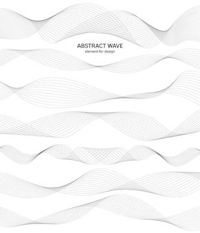 Imposta l'elemento d'onda astratto per il design