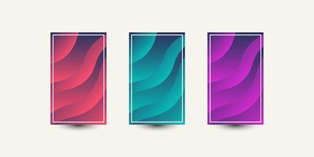 Impostare le onde astratte coprono il disegno del modello di illustrazione dello sfondo