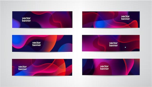 Set di striscioni colorati ondulati astratti, intestazioni a gradiente di flusso