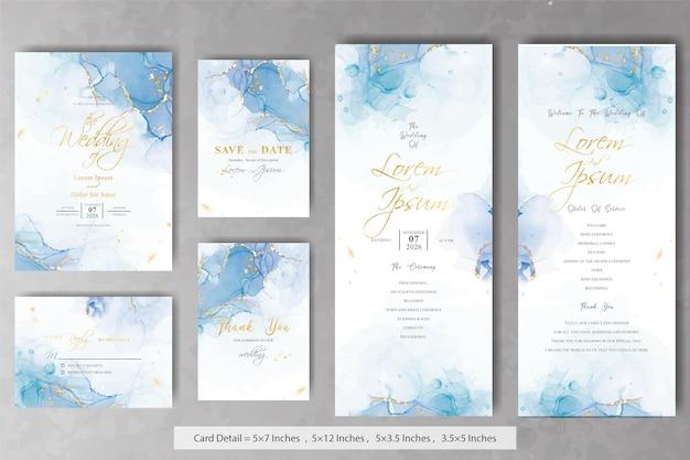 Set di modelli di biglietti di invito a nozze astratti con sfondo di inchiostro alcolico