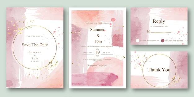 Set di acquerello astratto invito a nozze