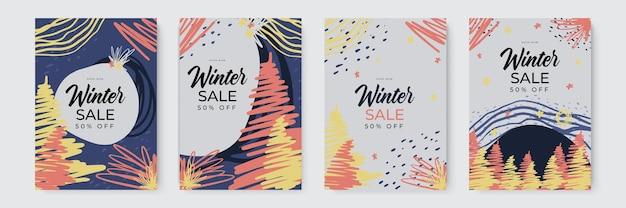 Set di sfondi astratti invernali striscioni invernali colorati con fiocchi di neve che cadono alberi innevati wintr...