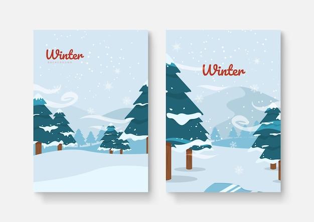 Set di sfondi astratti invernali per modello universale. striscioni invernali colorati con fiocchi di neve che cadono, alberi innevati. scene invernali. utilizzare per invito a eventi, buono sconto, annuncio.