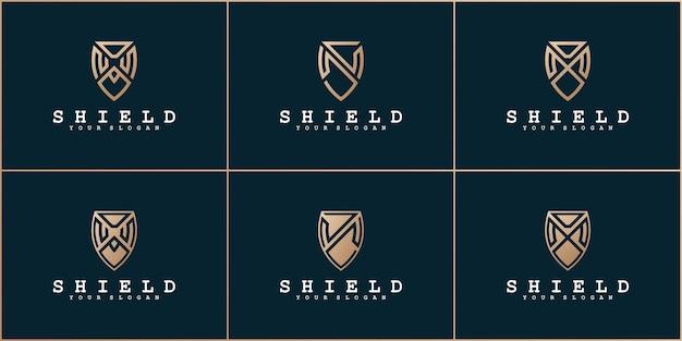 Set di lettere abstrak con concetto di scudo e biglietto da visita vettore premium