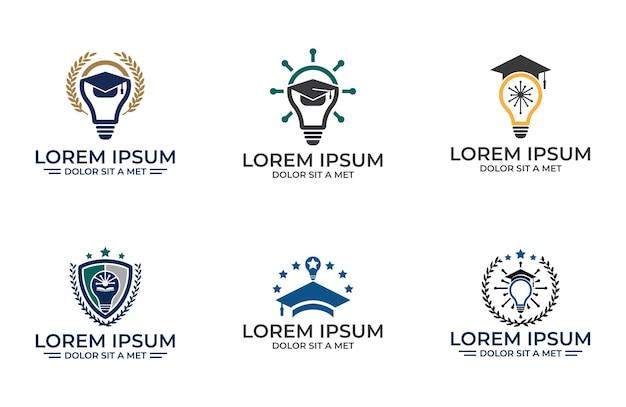 Set di modello di progettazione dell'illustrazione dell'accademia, design dell'icona dell'istruzione isolato su sfondo bianco