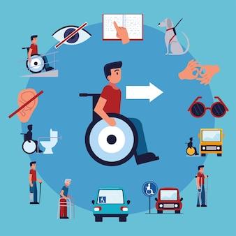 Imposta l'accessibilità disabili Vettore Premium