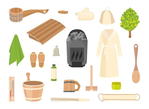 Set di accessori per bagni e saune.