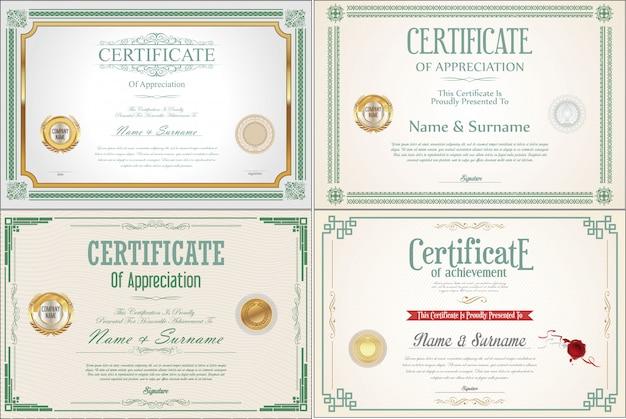 Set di certificato achievement con sigilli