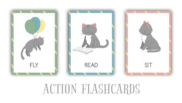 Serie di azioni flash card con cat. simpatico personaggio volante, lettura, seduta. schede per l'apprendimento precoce.