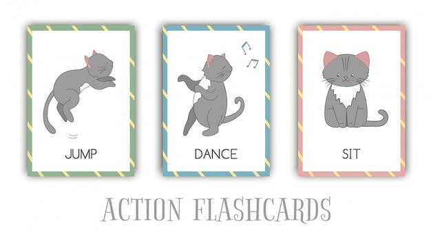 Serie di azioni flash card con cat. simpatico personaggio che salta, balla, seduto. schede per l'apprendimento precoce.