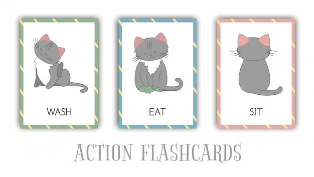 Serie di azioni flash card con cat. simpatico personaggio lavarsi, mangiare, sedersi. schede per l'apprendimento precoce.