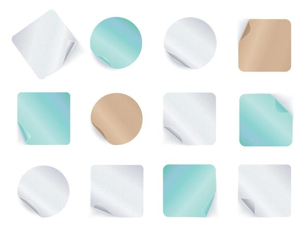 Set di adesivi adesivi isolati su bianco