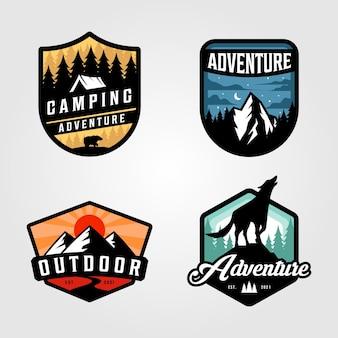 Set di design logo campeggio avventura