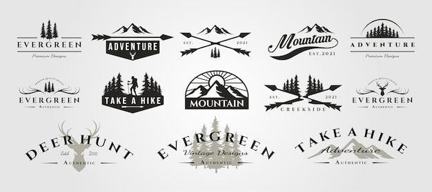 Set di logo vintage all'aperto di montagna avventura