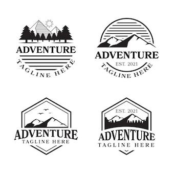 Set di loghi avventurosi in stile vintage. perfetto per loghi, disegni di t-shirt, etichette, badge.