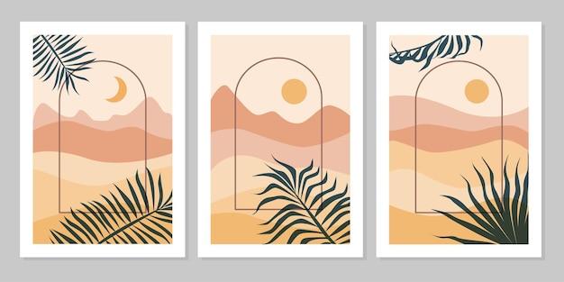 Set di sfondo estetico moderno naturale paesaggio astratto con montagna, arco, foglia, cielo, sole e luna. modello di copertina del manifesto boho minimalista. design per stampa, cartolina, carta da parati, wall art, vendita