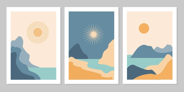 Set di sfondo estetico moderno naturale paesaggio astratto con montagna, foresta, mare, cielo, sole e fiume. modello di copertina del manifesto boho minimalista. design per stampa, cartolina, carta da parati, arte della parete.