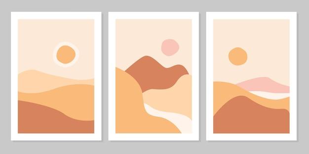 Set di sfondo estetico moderno naturale paesaggio astratto con montagna, fiume, cielo, sole e hiil. modello di copertina del manifesto boho minimalista. design per stampa, cartolina, carta da parati, arte della parete.