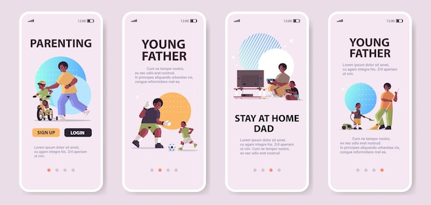 Impostare padre afroamericano che gioca con il piccolo figlio genitorialità paternità concetto papà trascorrere del tempo con il suo bambino schermi smartphone raccolta a figura intera copia spazio orizzontale illustrazione vettoriale