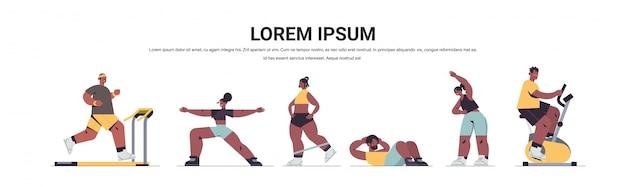 Impostare la gente dell'afroamericano facendo esercizi fisici uomini donne che hanno allenamento cardio fitness allenamento stile di vita sano sport concetto piena lunghezza illustrazione spazio copia